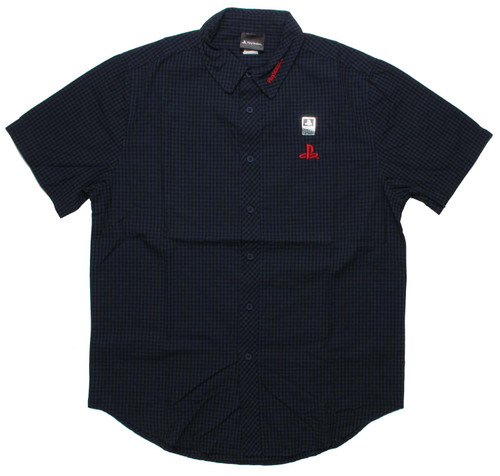 PlayStation Logo Navy Plaid Button Down Shirt