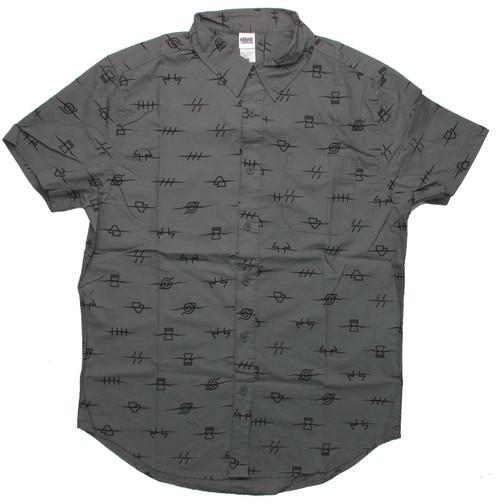 Naruto Village Anti Symbols Gray Button Shirt