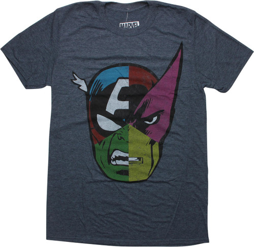 Avengers Hero Six Piece Pie Face Charcoal T-Shirt