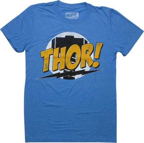 Thor Name Hammer Circle Heathered Blue T-Shirt