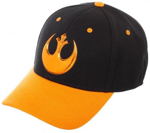 Star Wars Rebel Logo Orange Bill Flex Fit Hat