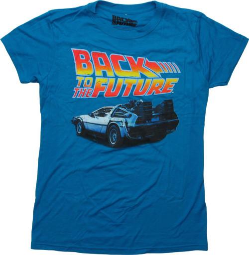 Back to the Future DeLorean Blue Juniors T-Shirt