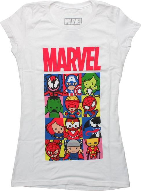 Marvel Kawaii Toy Toons Squares Juniors T-Shirt