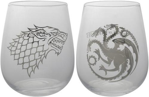 Game of Thrones Stark Targaryen Stemless Glass Set