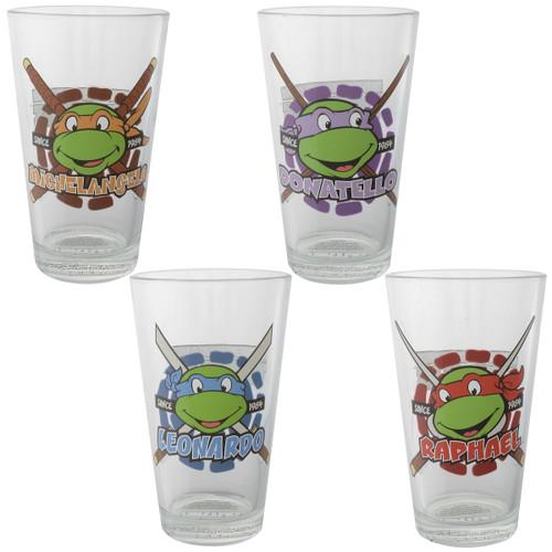 Ninja Turtles Hero Heads 1984 4 Pint Glass Set