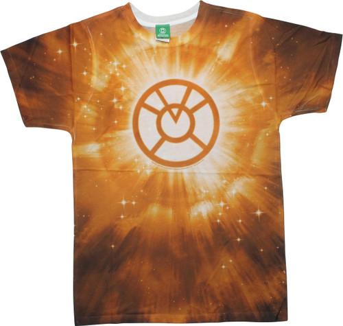 Green Lantern Orange Logo Burst Tie-Dyed T-Shirt