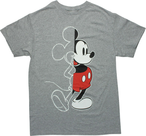 Mickey Mouse Half Sketch Heathered Gray T-Shirt