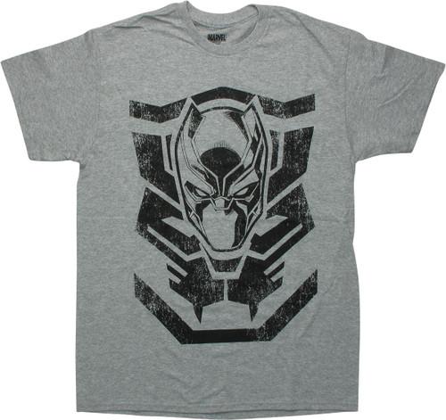 Black Panther Mask Logo Gray T-Shirt