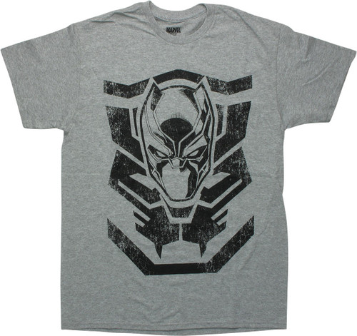 Black Panther Mask Logo Gray T-Shirt