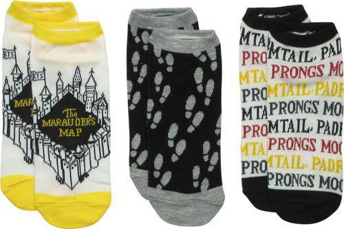 Harry Potter Marauder's Map 3 Pair Ankle Socks Set