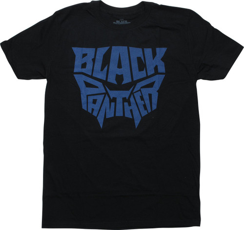 Black Panther Word Title Mask Black T-Shirt