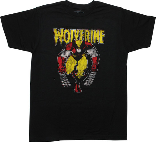 X Men Wolverine Vintage Stance Black T-Shirt