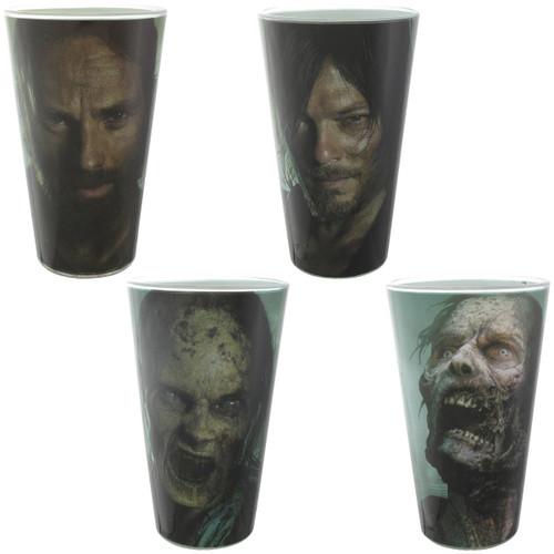 Walking Dead Daryl Rick Zombies 4 Pint Glass Set