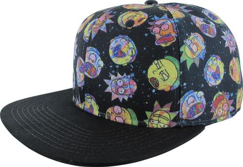 Rick and Morty Heads Jumble Snapback Hat