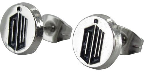Doctor Who DW TARDIS Circle Stud Earrings