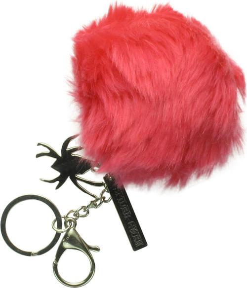 Spider-Gwen Metal Logo Furry Pom Keychain