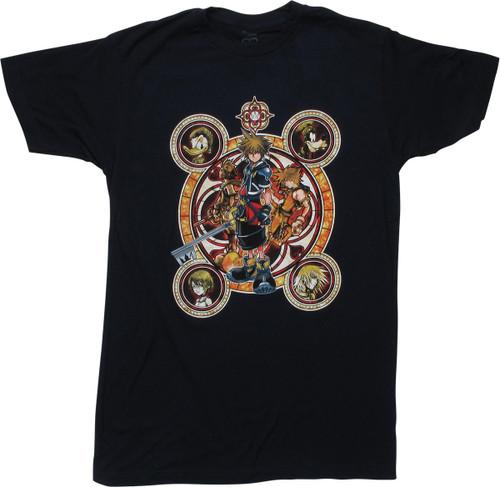 Kingdom Hearts Character Circles Navy Blue T-Shirt