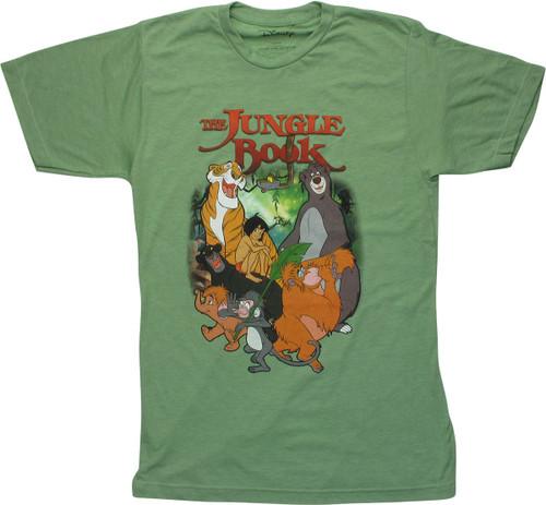 Jungle Book Characters Heathered Green T-Shirt