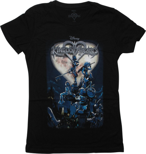 Kingdom Hearts Cover Art Black Juniors T-Shirt