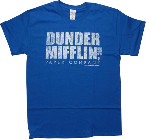 Office Dunder Mifflin Distressed Logo Blue T-Shirt