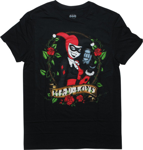 Harley Quinn Pose Mad Love Roses Black T-Shirt