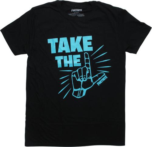 Fortnite Take the L Lt Blue Letters Black T-Shirt