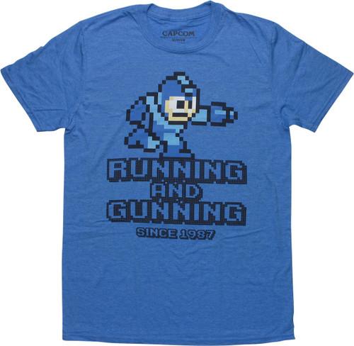 Mega Man Running and Gunning Heather T-Shirt