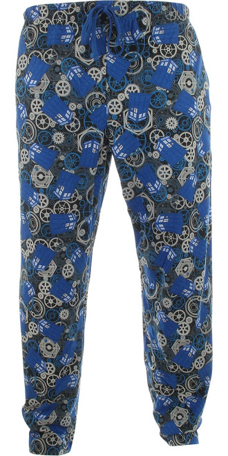 Doctor Who Gears and TARDIS All Over Lounge Pants