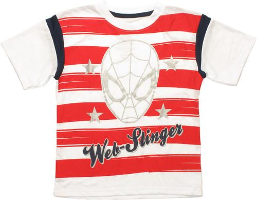 Spiderman Web Slinger Striped Juvenile T-Shirt