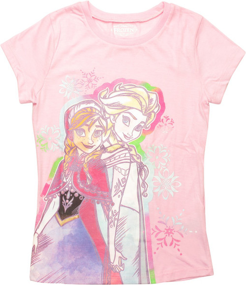 Frozen Watercolor Sisters Girls Youth T-Shirt