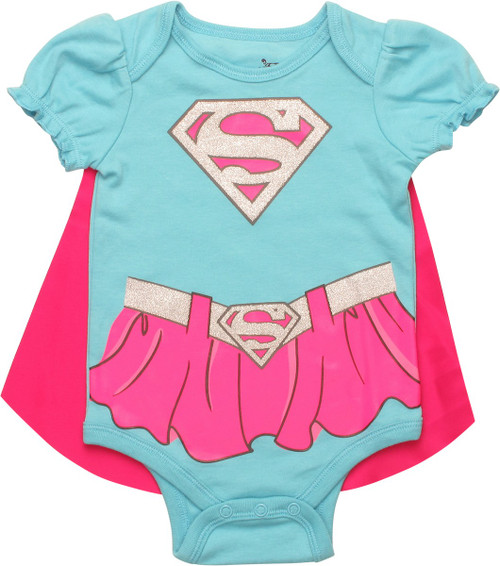 Supergirl Glitter Logo Caped Snap Suit
