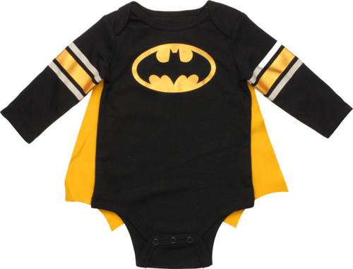 Batman Logo Caped Long Sleeve Snap Suit
