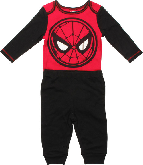 Spiderman Face Pants and Long Sleeve Snap Suit Set