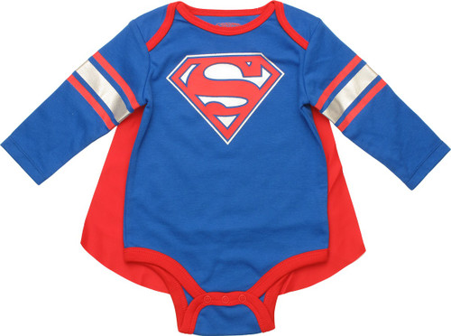 Superman Logo Caped Long Sleeve Snap Suit