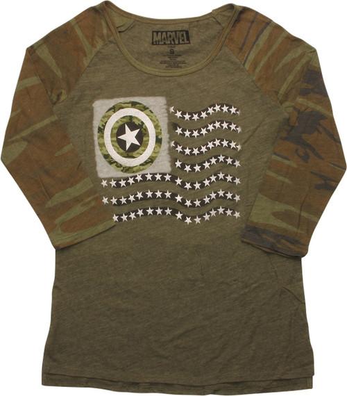 Captain America Camo Flag Raglan Juniors T-Shirt