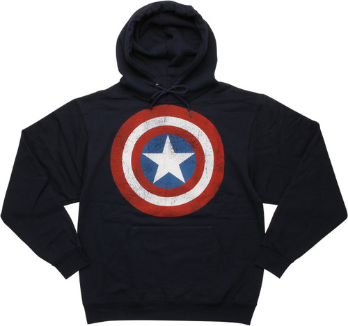 Captain America Distressed Shield Pullover Hoodie