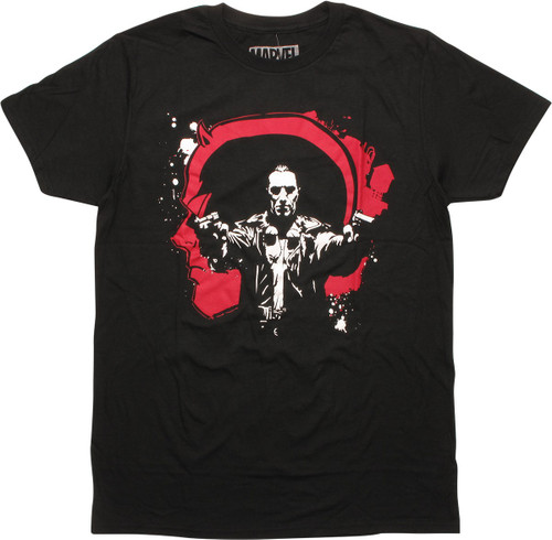 Daredevil vs Punisher Head Gun Pose T-Shirt
