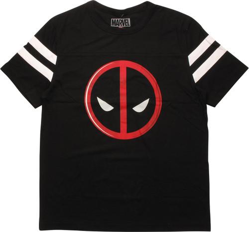 Deadpool Logo Striped Sleeve Varsity Jersey Shirt