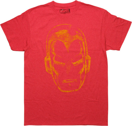 Iron Man Mask Distressed Heathered Red T-Shirt