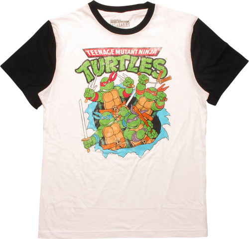 Ninja Turtles Heroes Burst Distress Ringer T-Shirt