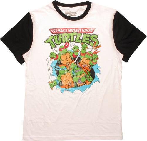 Ninja Turtles Heroes Burst Distress Ringer T-Shirt