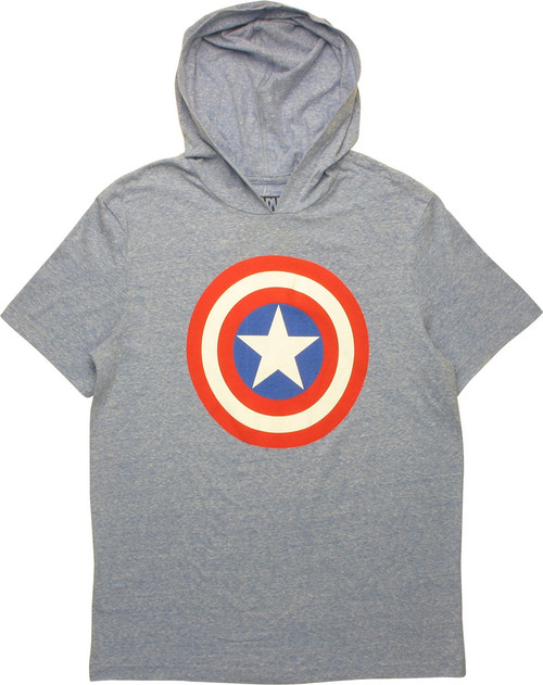Captain America Shield Logo Hooded T-Shirt