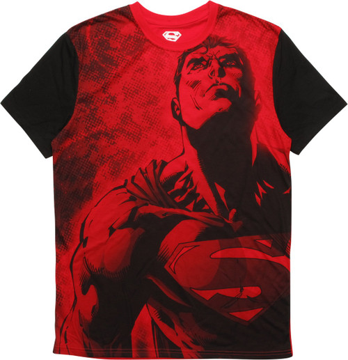 Superman Heroic Pose Sublimated T-Shirt Sheer