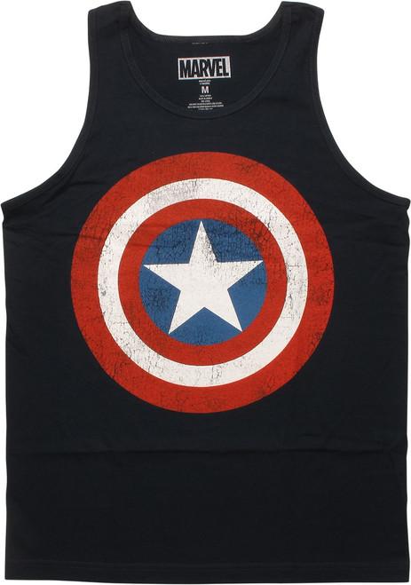 Captain America Distressed Shield Logo Tank Top