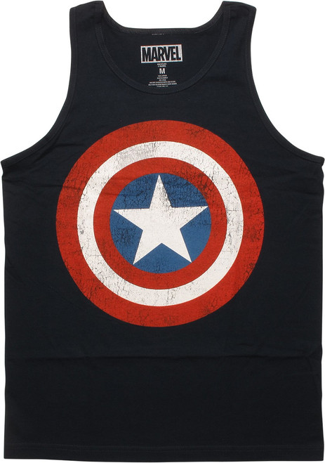 Captain America Distressed Shield Logo Tank Top