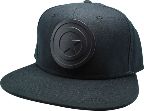Captain America Black Shield Logo Snapback Hat