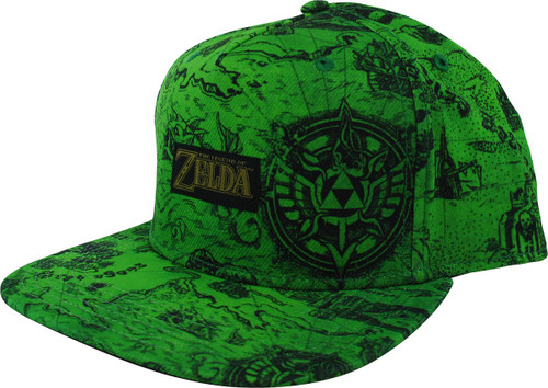 Zelda Map Allover Print Green Snapback Hat