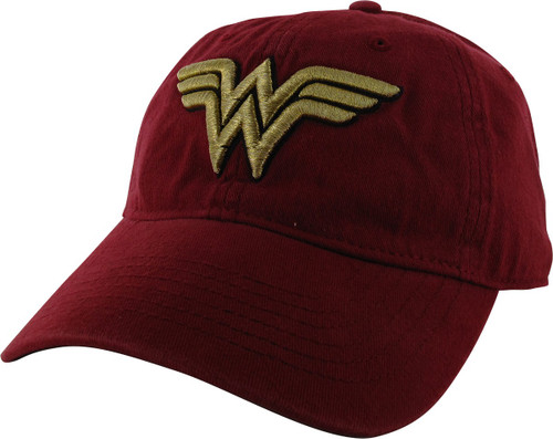 Wonder Woman Embroidered Logo Red Buckle Hat