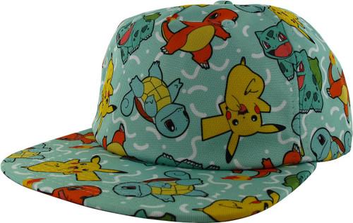 Pokemon Classic Starters AOP Snapback Hat