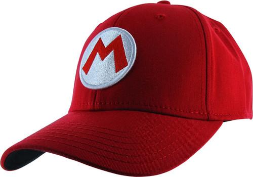 Super Mario Mario M Logo Red Flex Fit Hat